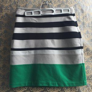 Express Green Beige Black Striped Bodycon Skirt 6